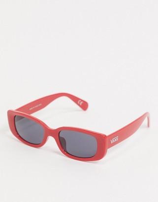 Vans square sunglasses in racing red