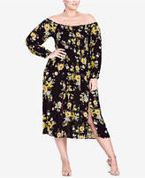 City Chic Trendy Plus Size Off-The-Shoulder Peasant Dress