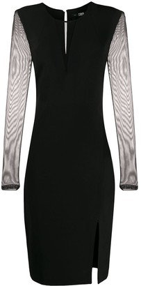 Karl Lagerfeld Paris Mesh-Panel Fitted Dress