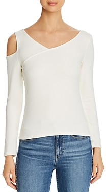 Red Haute Ribbed Cold-Shoulder Top