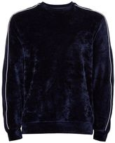 Topman Navy Velour Piped Sweatshirt