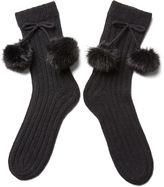 Portolano Women's Pom-Pom Socks, Black