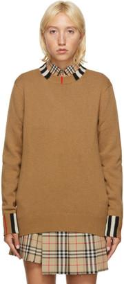 Burberry Beige Cashmere Icon Stripe Sweater