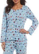 Sleep Sense Mittens-Print Henley Sleep Top