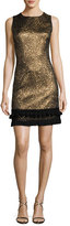 Andrew Gn Sleeveless Metallic Jacquard Dress, Gold