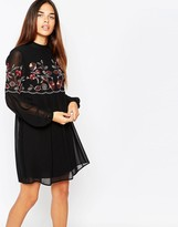 Warehouse Embroidered Smock Dress