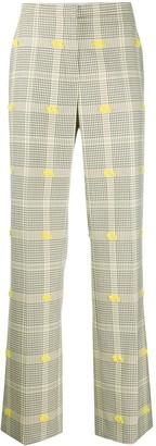 Nina Ricci Frayed-Detail Check Trousers