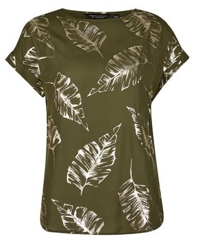 Dorothy Perkins Womens Khaki Colour Foil Printed T