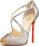 Christian Louboutin Wrap Glitter Peep-Toe Red Sole Pump