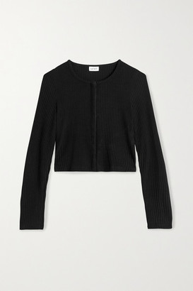 Leset Alison Cropped Ribbed Stretch-knit Cardigan - Black