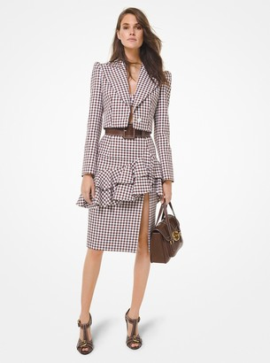 Michael Kors Collection Gingham Cotton Ruffled Pencil Skirt