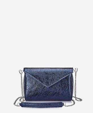 GiGi New York Lena Crossbody, Black Crackle Metallic Leather