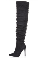 Quiz Black Faux Suede Over The Knee Heeled Boots