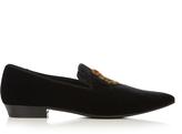 Saint Laurent Devon embroidered velvet loafers