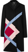 MSGM Color-block Wool-blend Felt Coat - Black