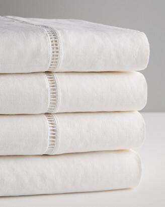 Melange Home Hemstitich Linen Sheet Set