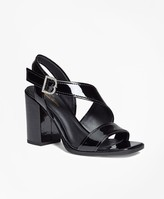 Brooks Brothers Patent Leather Open-Toe Stacked Sandals