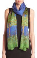 Gucci Night Garden-Print Modal & Wool Scarf