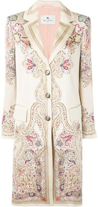 Etro Silk Satin Paisley-Print Coat