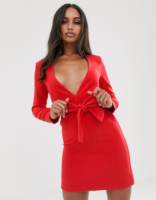 Vesper tailored tux dress with tie front in red