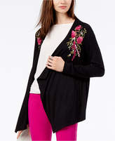 INC International Concepts I.N.C. Floral-Embroidered Flyaway Cardigan, Created for Macy's