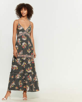 Apricot Floral Print Sleeveless Maxi Dress