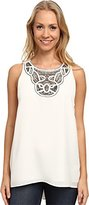Vince Camuto Women's Sleeveless High Low Hem Blouse with Neck Embroidered