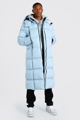 boohoo Mens Blue Longline Duvet Puffer With Zips, Blue