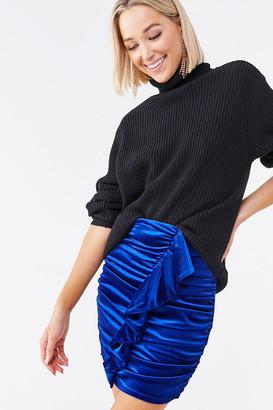 Forever 21 Ruched Velvet Mini Skirt