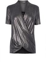Karen Millen Metallic Wrap Top - Pewter