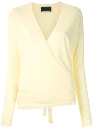 Andrea Bogosian Long Sleeves Wrap Blouse