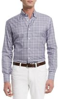 Brioni Plaid Long-Sleeve Sport Shirt, Purple/White