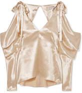 REJINA PYO - Camille Cold-shoulder Draped Satin Blouse - Gold