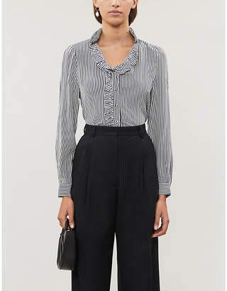 Claudie Pierlot Bella striped loose-fit silk-crepe shirt