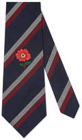 Gucci Striped silk tie with embroidery