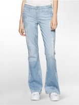 Calvin Klein Flared Leg Distressed Bourges Wash Jeans
