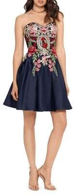 Blondie Nites Embroidered Satin Strapless Fit-&-Flare Party Dress