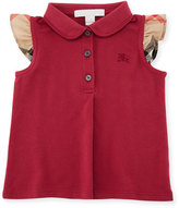 Burberry Tia Cotton-Stretch Polo Shirt w/ Ruffle Check Sleeves, Pink, Size 6M-3Y