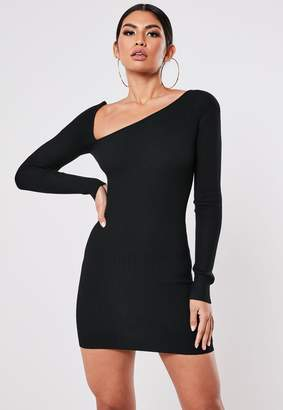 Missguided Black Asymmetric Neck Knitted Midi Dress