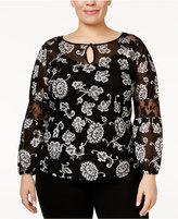 INC International Concepts Plus Size Lace-Inset Peasant Top, Only at Macy's