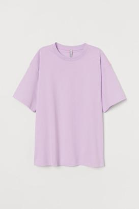 H&M Wide-cut Cotton T-shirt - Purple