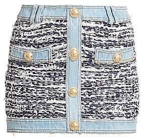 Balmain Women's Tweed & Denim Mini Skirt