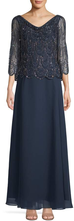 J Kara Embellished Sleeveless Gown