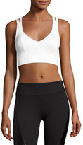 Lanston Avery V-Neck Compression High-Impact Sports Bra, White