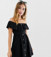 Asos DESIGN Petite mini button through sundress with tiered skirt