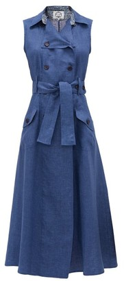 Evi Grintela Sahara Cotton-chambray Maxi-length Shirtdress - Womens - Blue