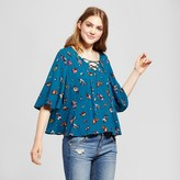 Mossimo Women's Woven Lace-Up Floral Blouse Blue