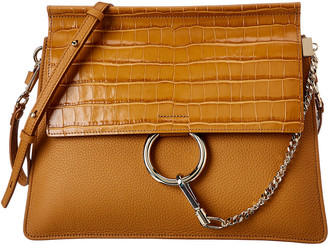 Chloé Faye Medium Croc-Embossed Leather Shoulder Bag