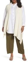 Eileen Fisher Plus Size Women's Cotton Blend Knit Asymmetrical Wrap