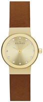 Skagen Women's Freja Crystal Index Leather Strap Watch